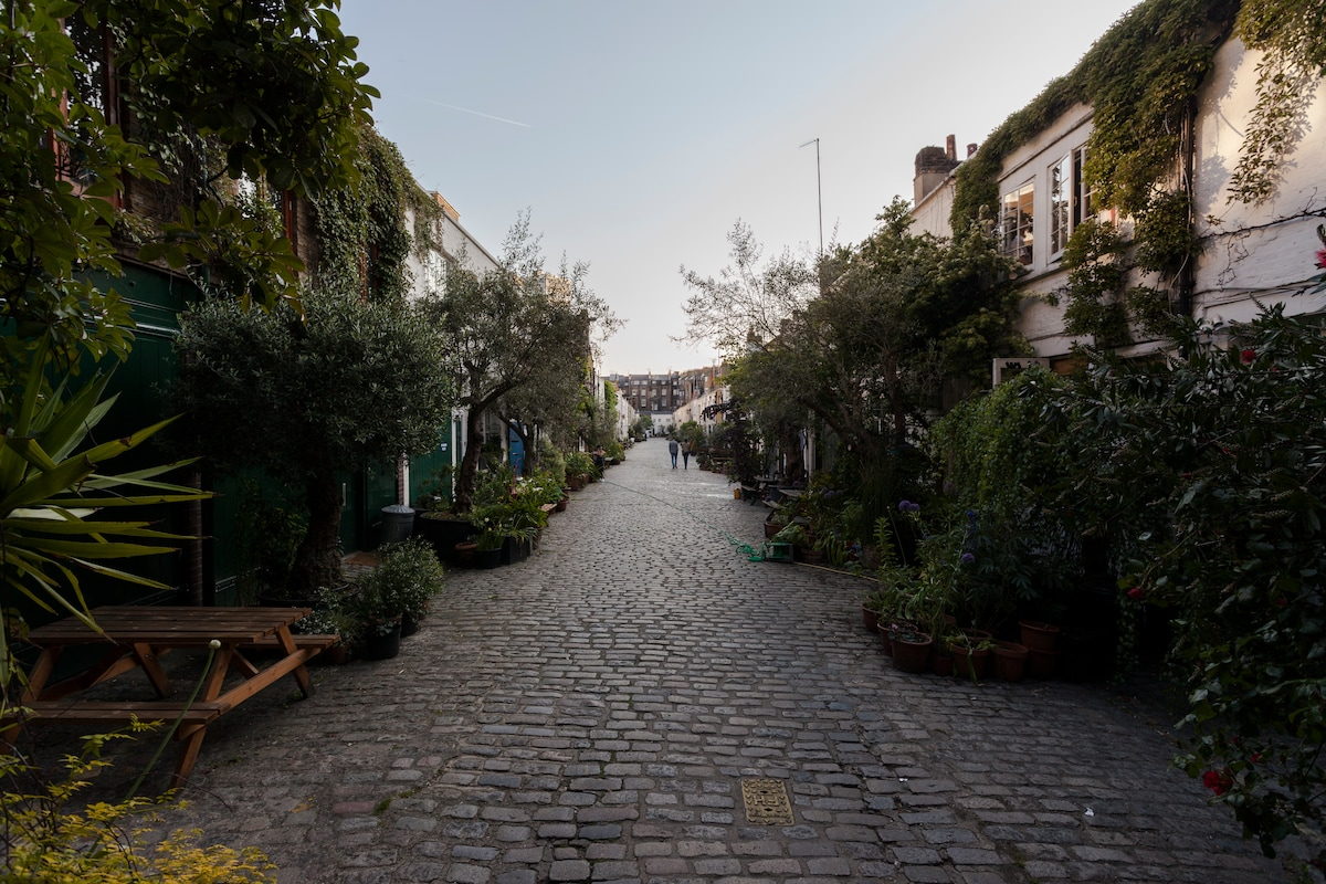 Entrance to the Mews: quaint cobble stone road