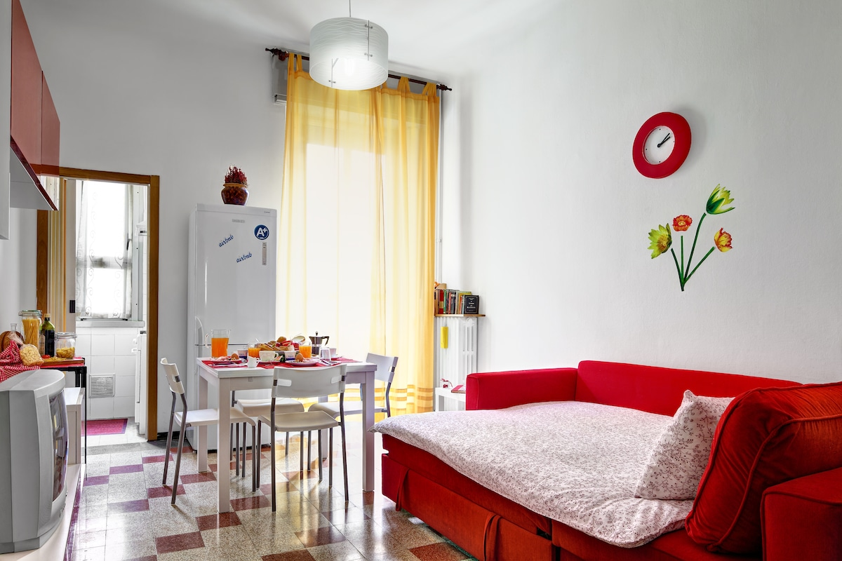 A living room with a comfortable sofa/bed to relax on during the day. During the night,you can continue to dream. Available for 2 people max to sleep.