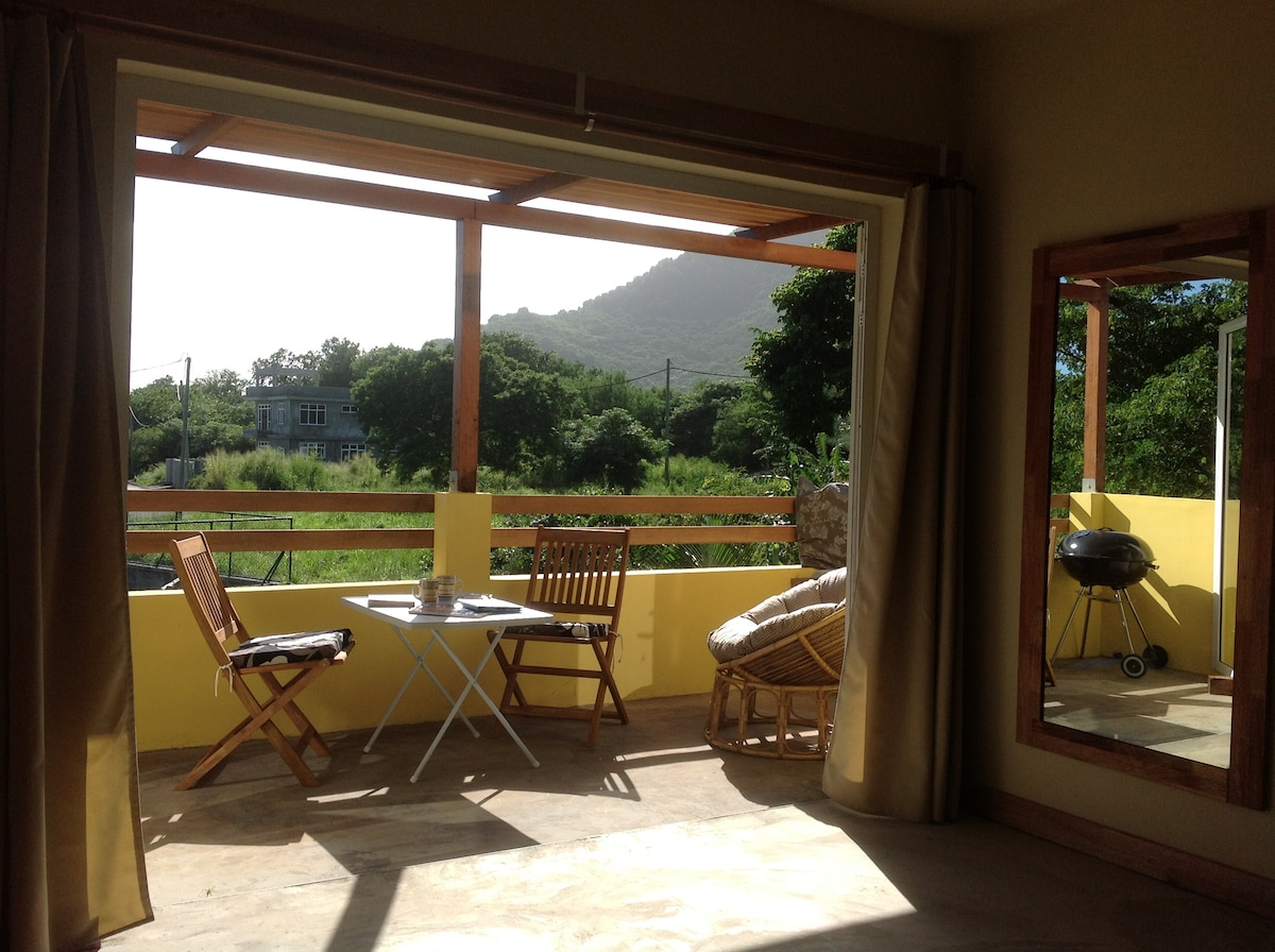 Studio 3 has a large private terrace and pergola sunshade. Gorgeous Views of the Lush green mountains.