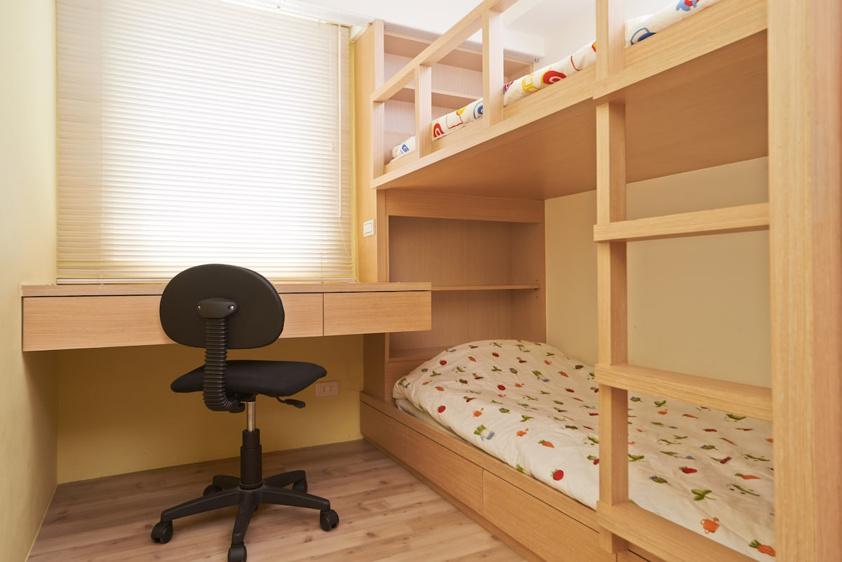 Two standard-size single bunk beds, can also be Study room or Storage room