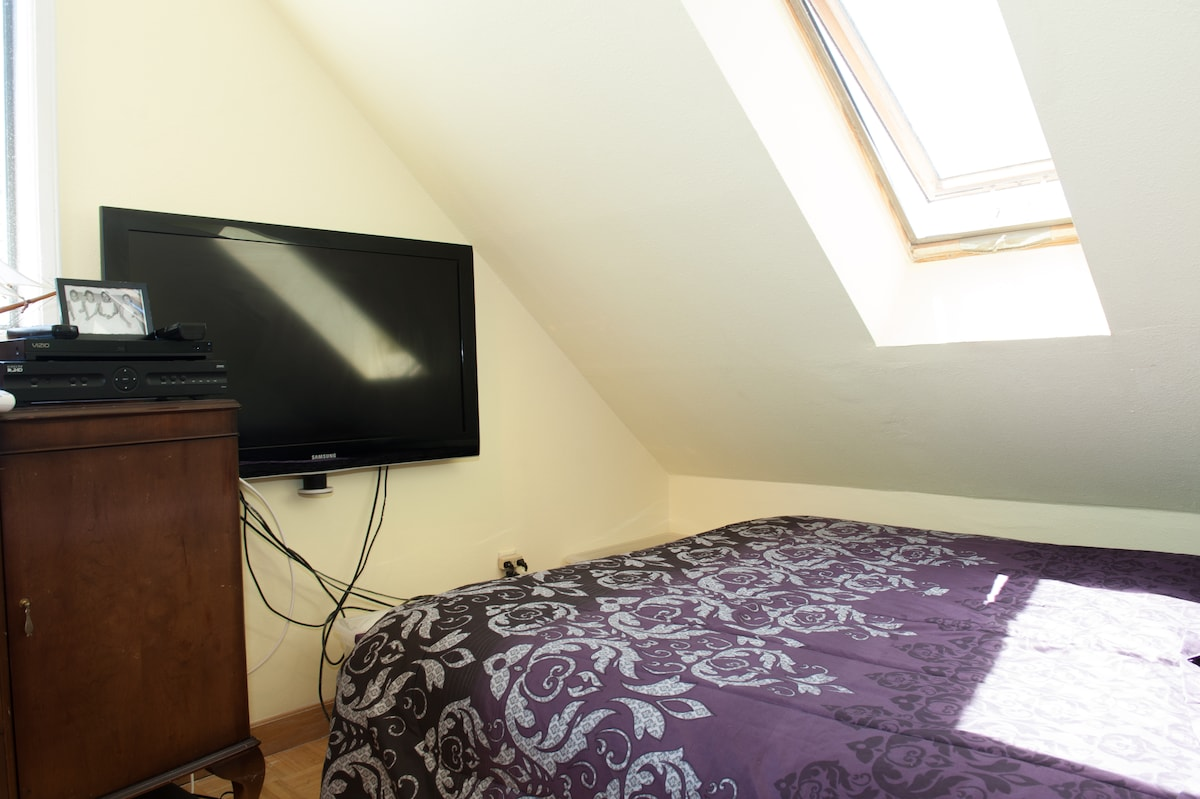 Room #1 with skylight, flatscreen TV, DVD player and comfortable queen-size bed