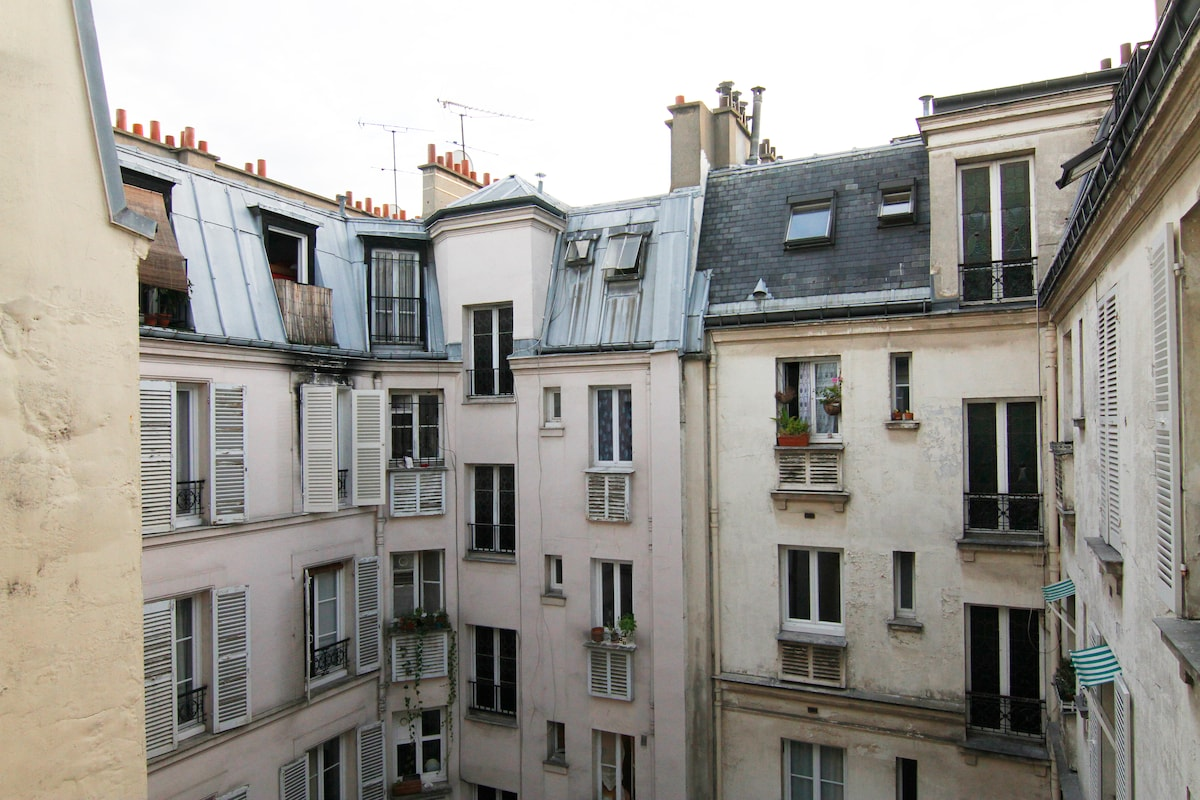 "This is the rooftop view from the apartment. The ""Haussmannian"" building dates from 1898. Typiquement Parisien!"
