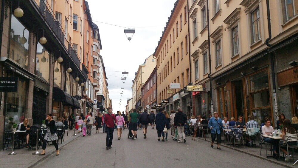 Götgatan just around the corner, around 20 m from my apartment. One of Stockholms best shopping areas