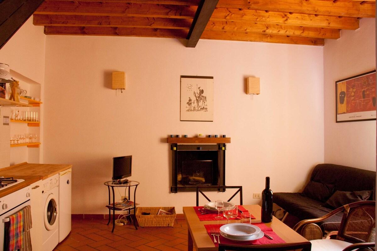 living room, chimney, sopha bed, kitchen, bottle of wine