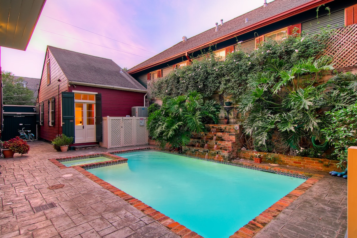 Private, two bedroom creole cottage with shared courtyard and pool.