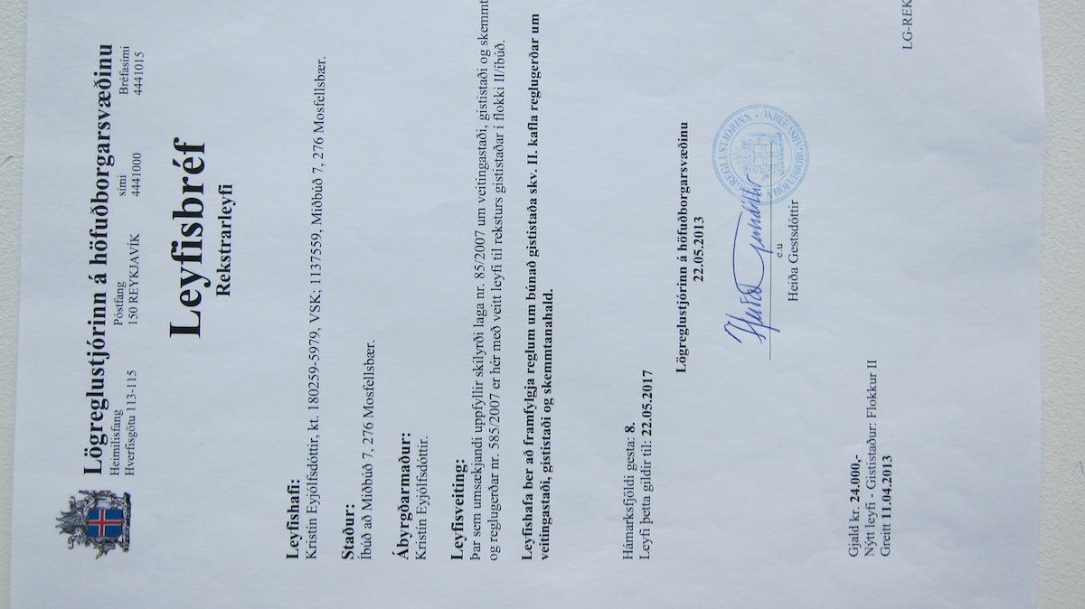 Official licence for accommodation