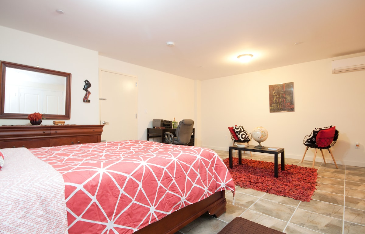HUGE space: Master bedroom with private on suite 1/2 bath, work desk station, lounging area all in one
