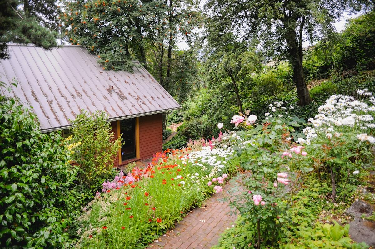 Garden view of kitchen entrance