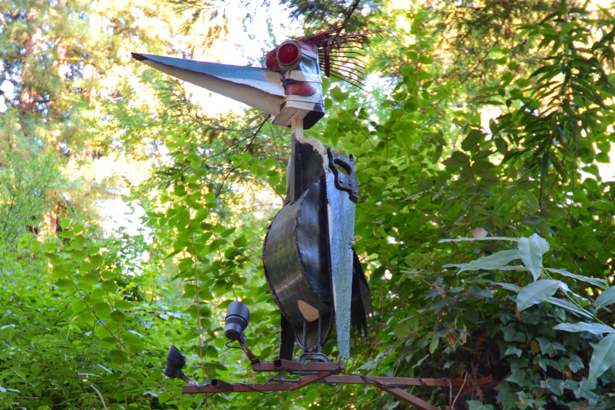 Welcome to RiverSea: A Patrick Amiot sculpture of RiverSea's mascot, the Pileated Woodpecker