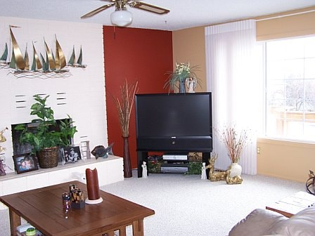 My living room with cable TV, DVD player & always free wifi throughout the house