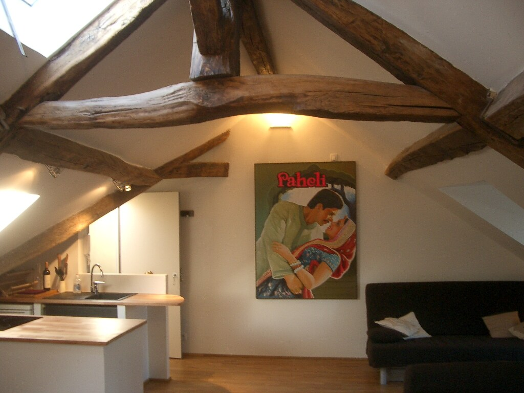 Very old beams again, with original Bollywood painting
