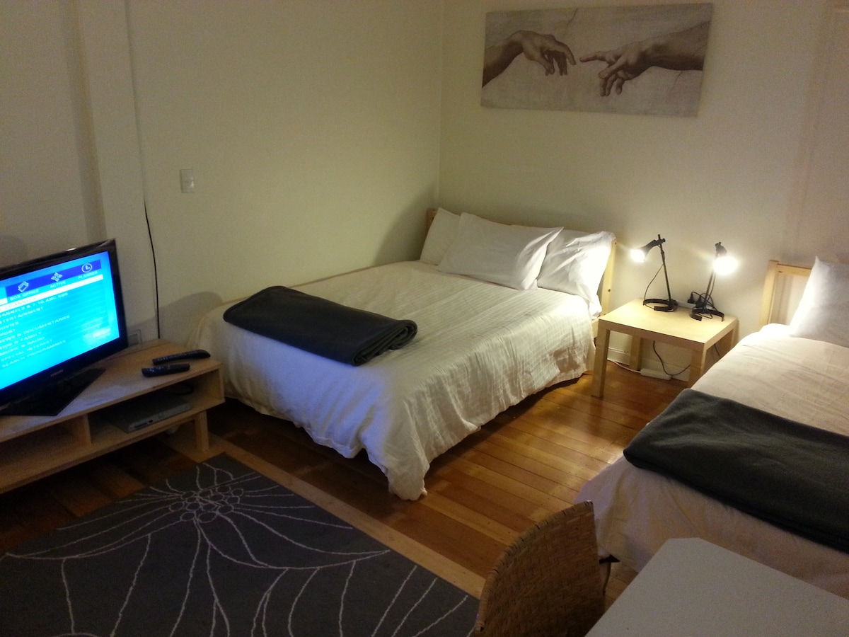 Two of the three beds ( 1 x double and 2 x singles) and cable TV