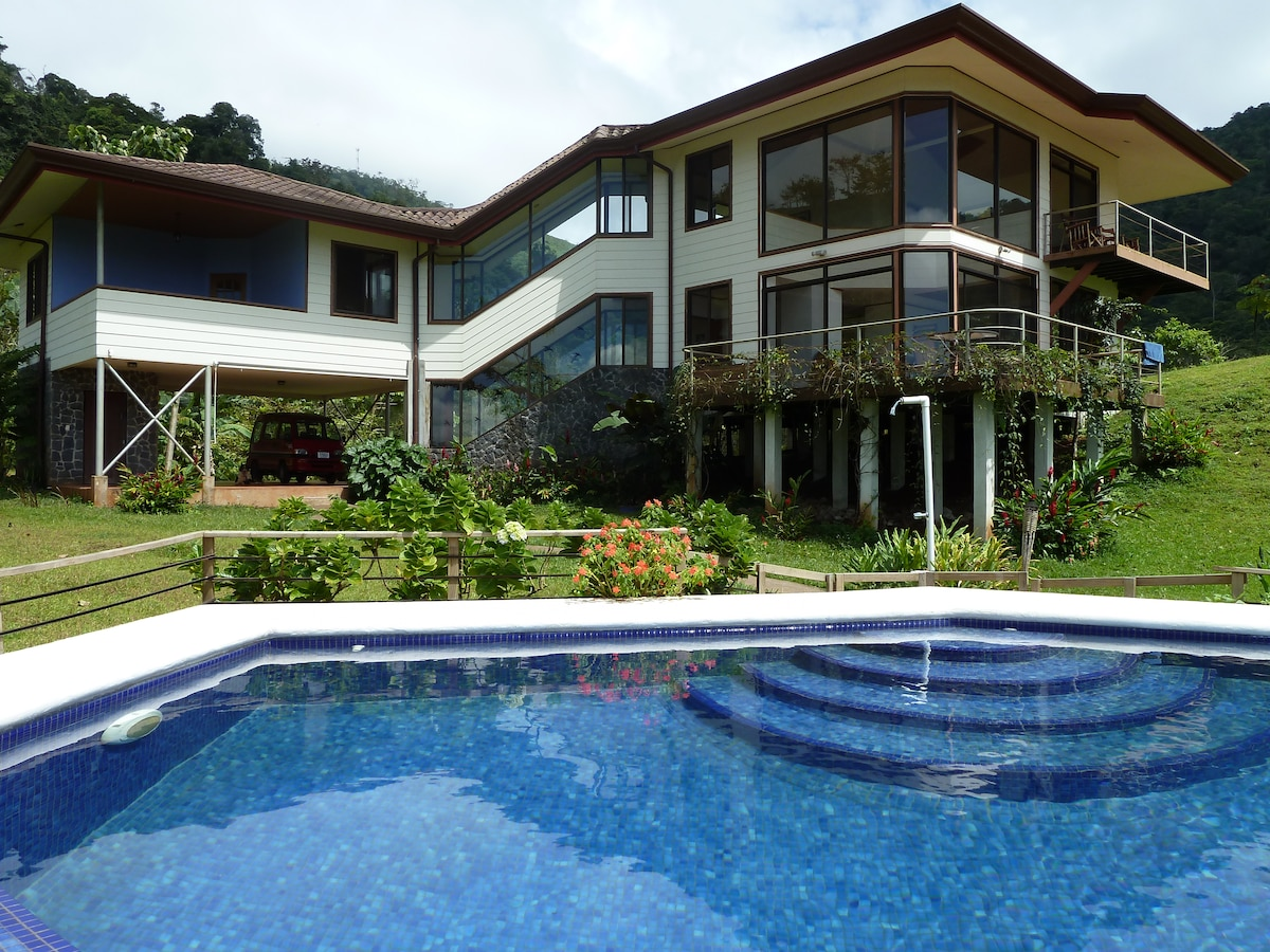 Front of house with swimming pool