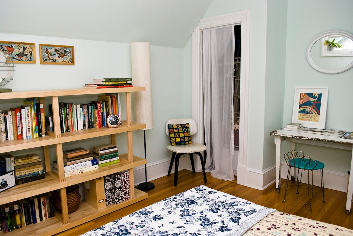There is room in the small closet for you to hang or fold your clothes.