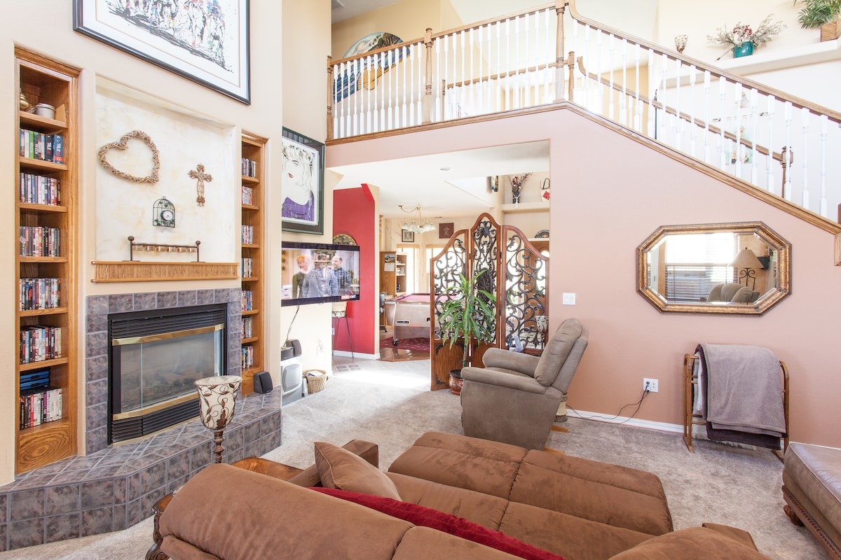 Fireplace, DVD's selection, great room, television, full sleeper and couch combination