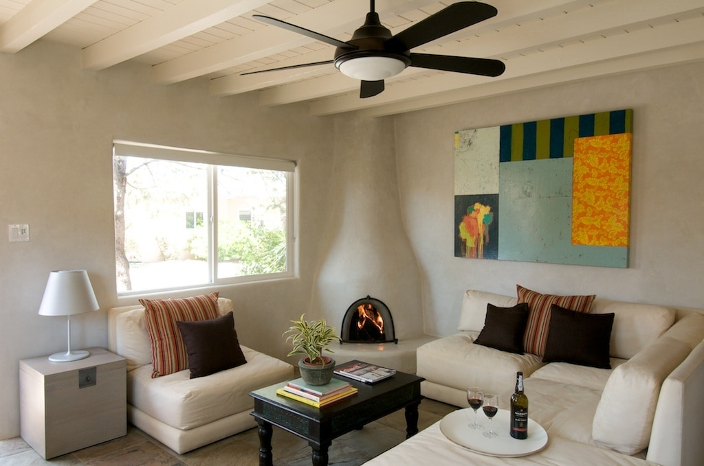 Living Area with Kiva Fireplace