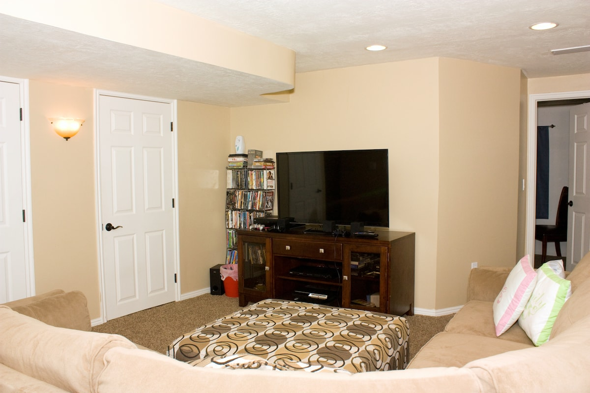 TV room. The door on the right is to the guest room