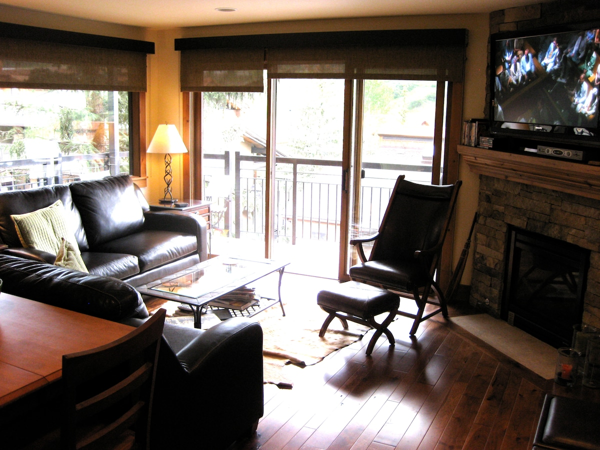 Living room with Wrap-Around Balcony, Fireplace and 52 HDTV