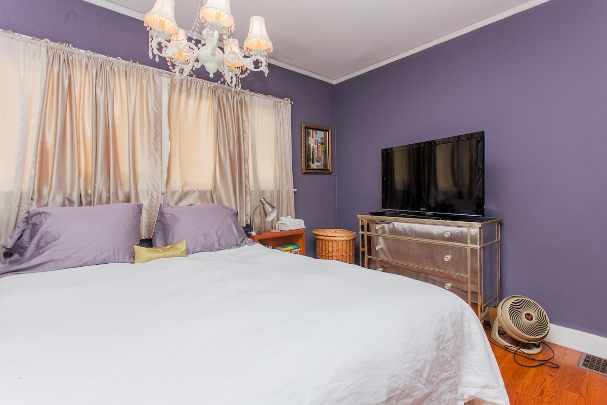 Another view of the room.  We don't have air conditioning but have fans and. also, you can keep your door open for fresh air.  In the winter we offer oil heatingl  The bed has a down comforter and down pillows.
