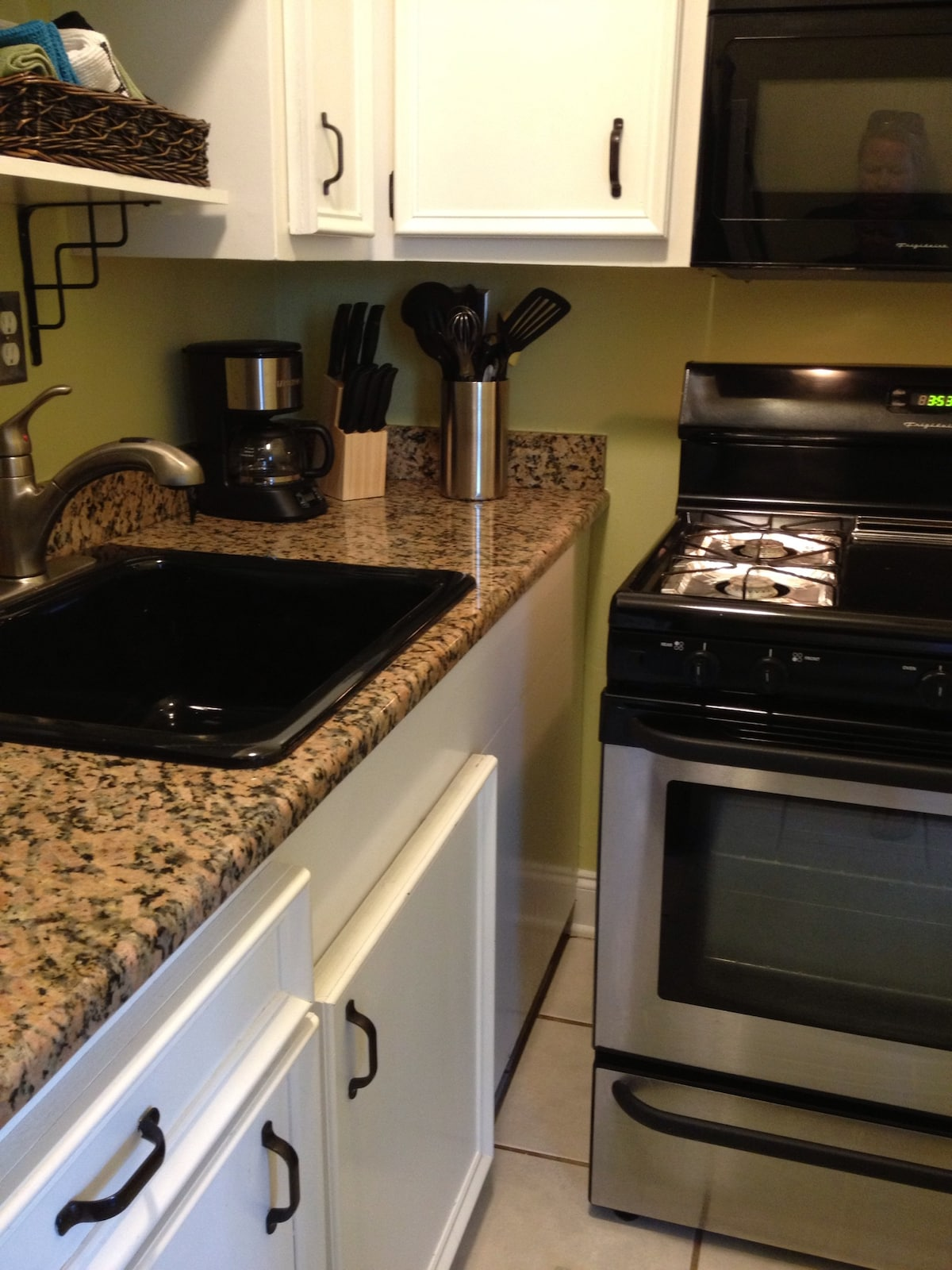 Stainless steel appliances, granite counter tops.