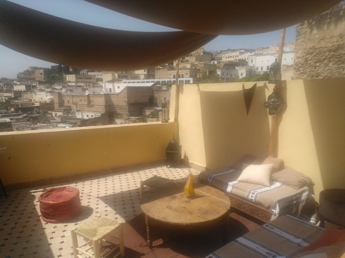 Berber style terrace with stunning view of Medina and Borj Sud