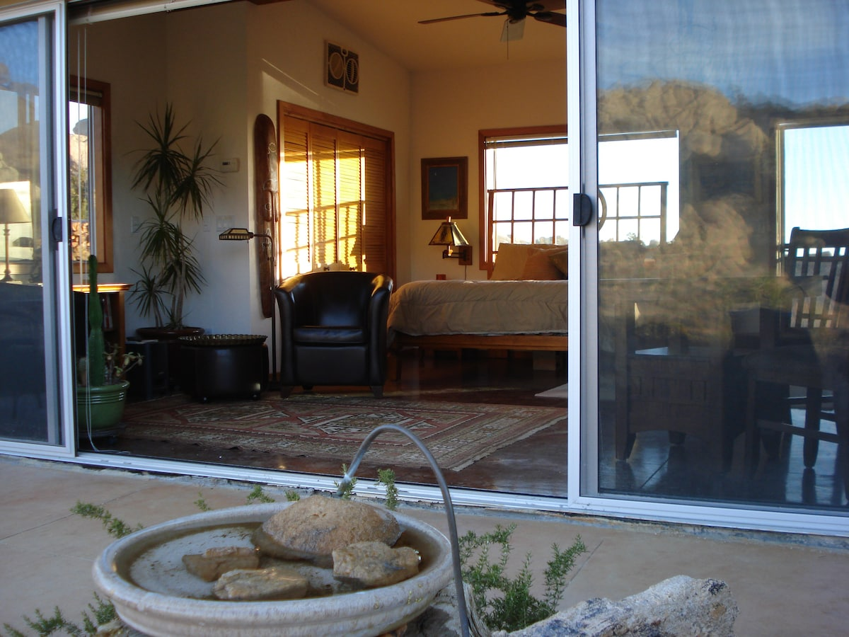A view into the Guest Cabin.  A birdbath attracts a large variety of birds (and the occasional bobcat and coyote!)