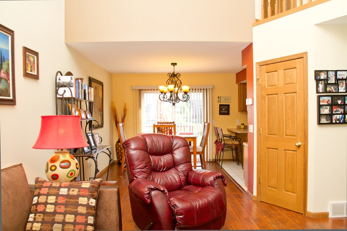 Colorful warm colors that compliment home decor; come home and kick back on the recliner.