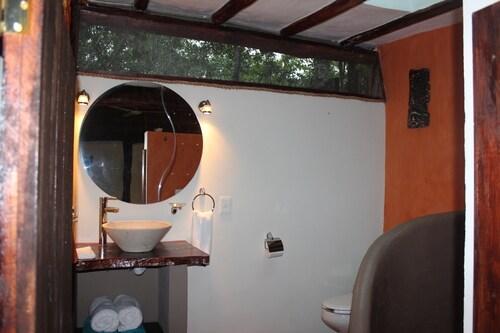 spacious airy bathroom with skylight