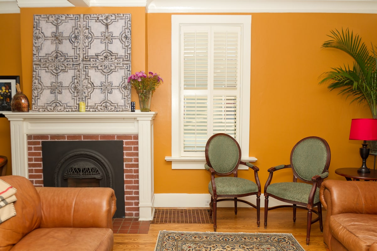 Living room with working gas fireplace
