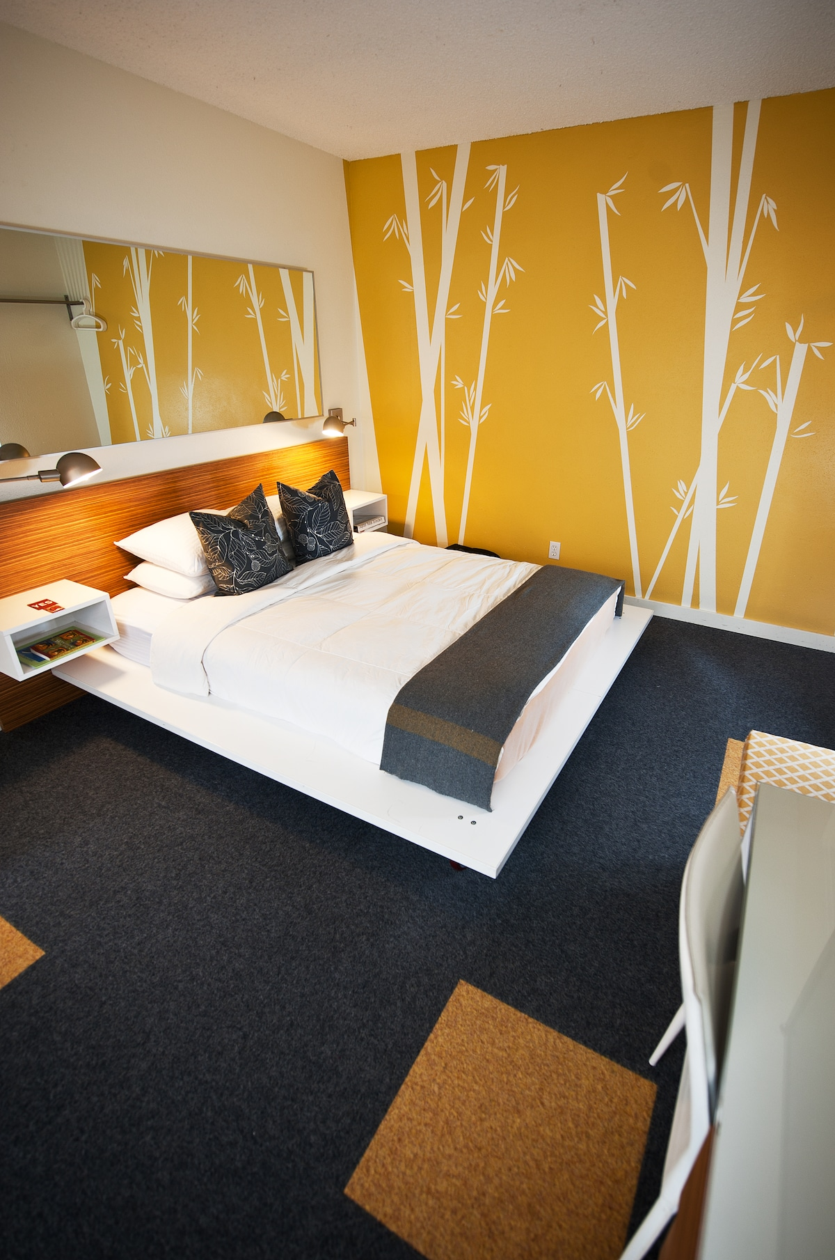 Your private room, with bathroom, features one queen pillowtop bed with down comforters and professionally laundered linens.