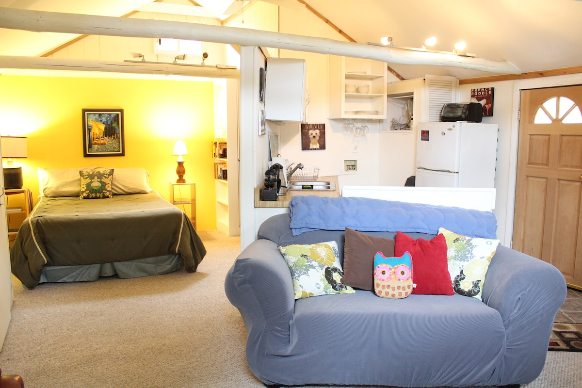 Comfy bed, couch and kitchen!