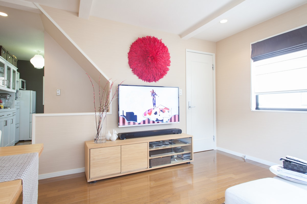Entertainment center (52 inch TV w/ cable channels, Toshiba sound bar, DVD recorder, Apple TV)