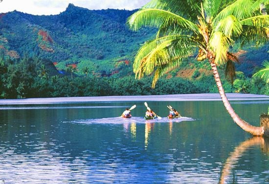 Kayaking in Kauai on the Wailua River.