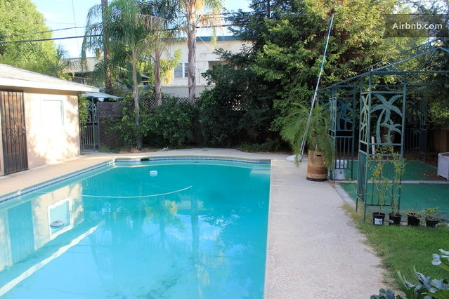 Cool off in the pool secluded by trees and gardens!  Professionally cleaned and chemically balanced.
