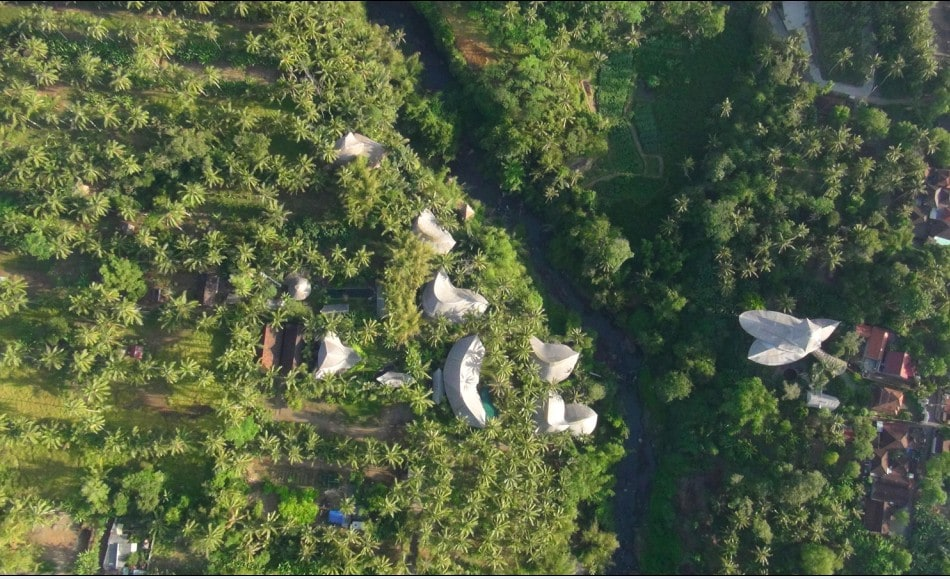 Aerial View of Green Village. Palm House is in the exact centre