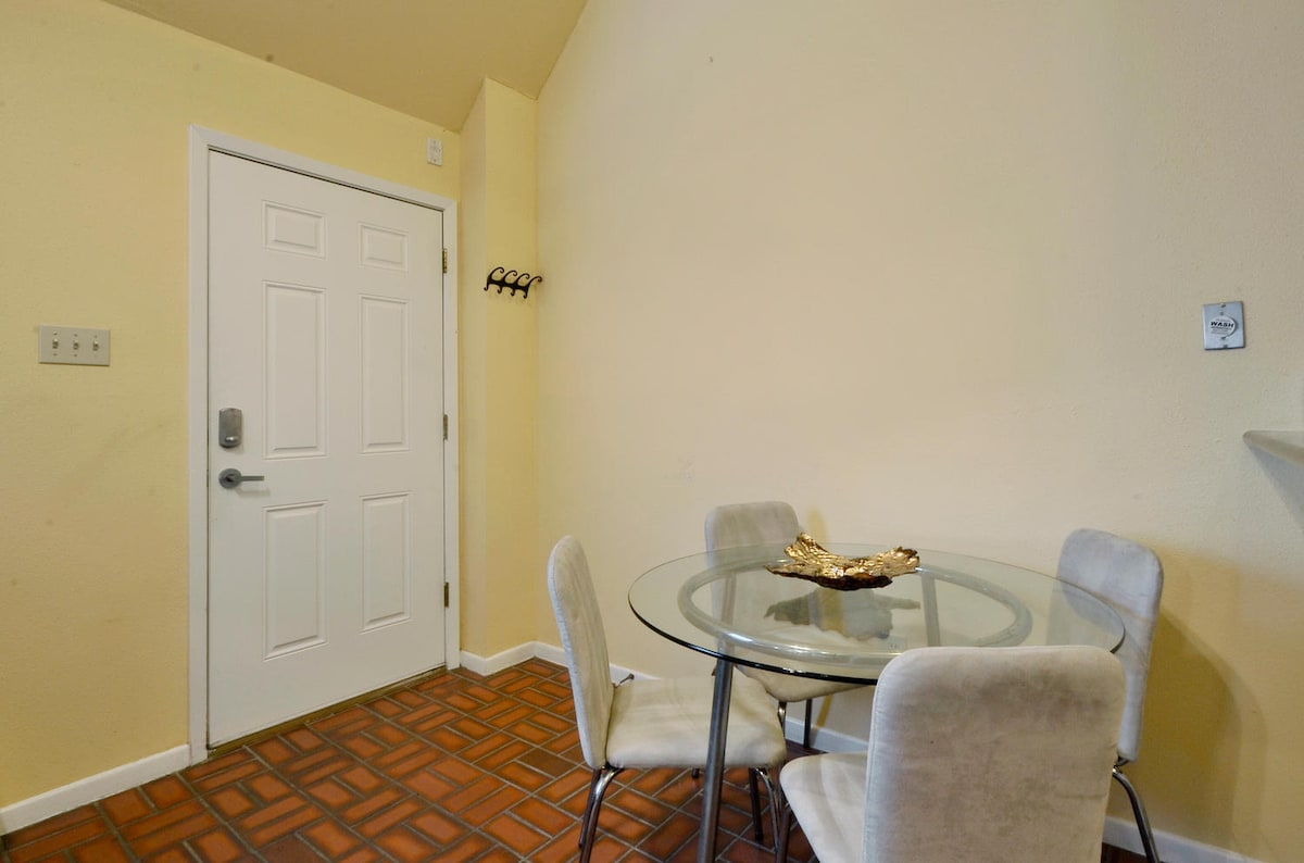 The front door opens into the spacious living area.
