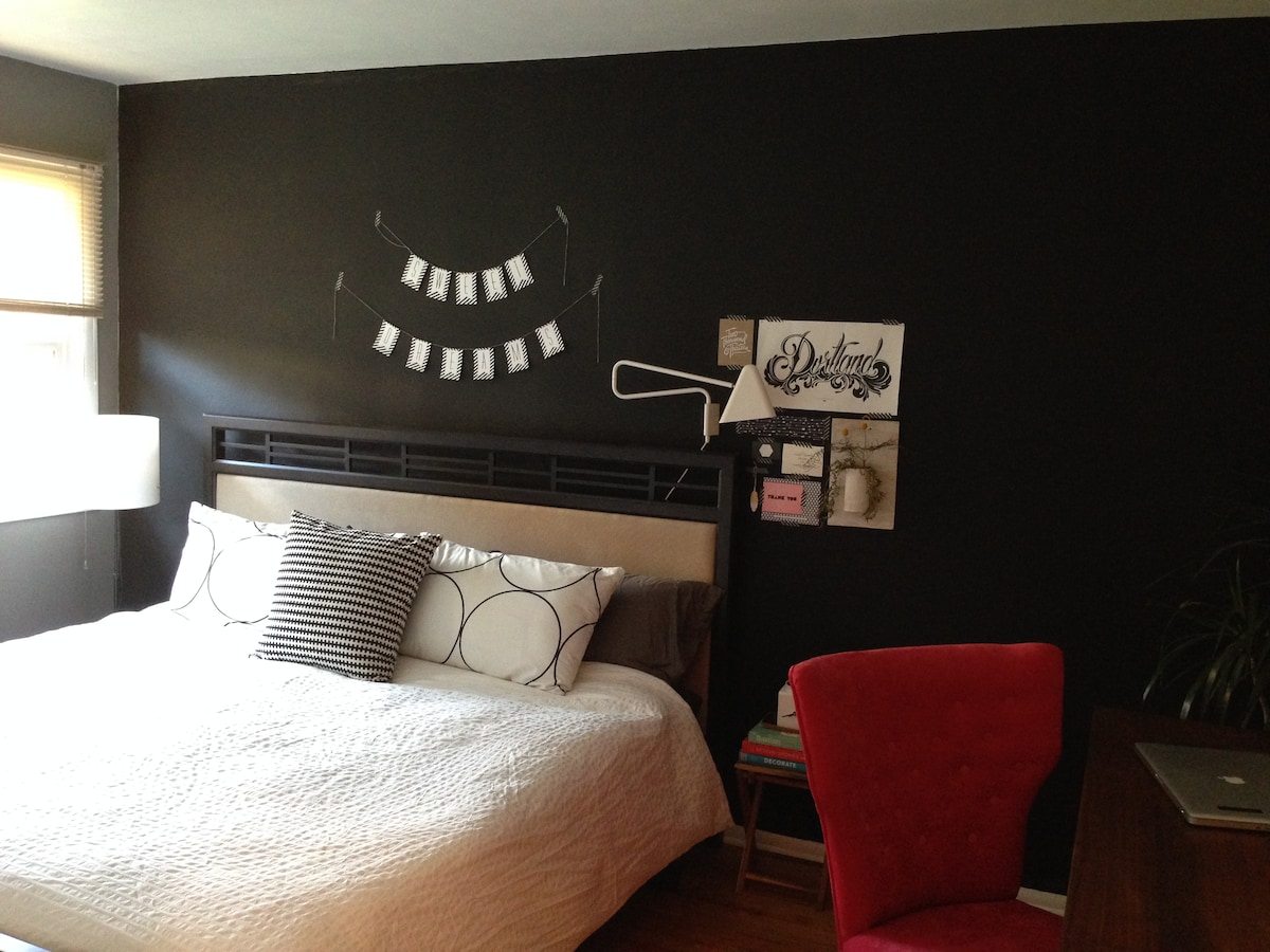 newly updated bedroom colors and a very comfy KING sized bed for you to enjoy