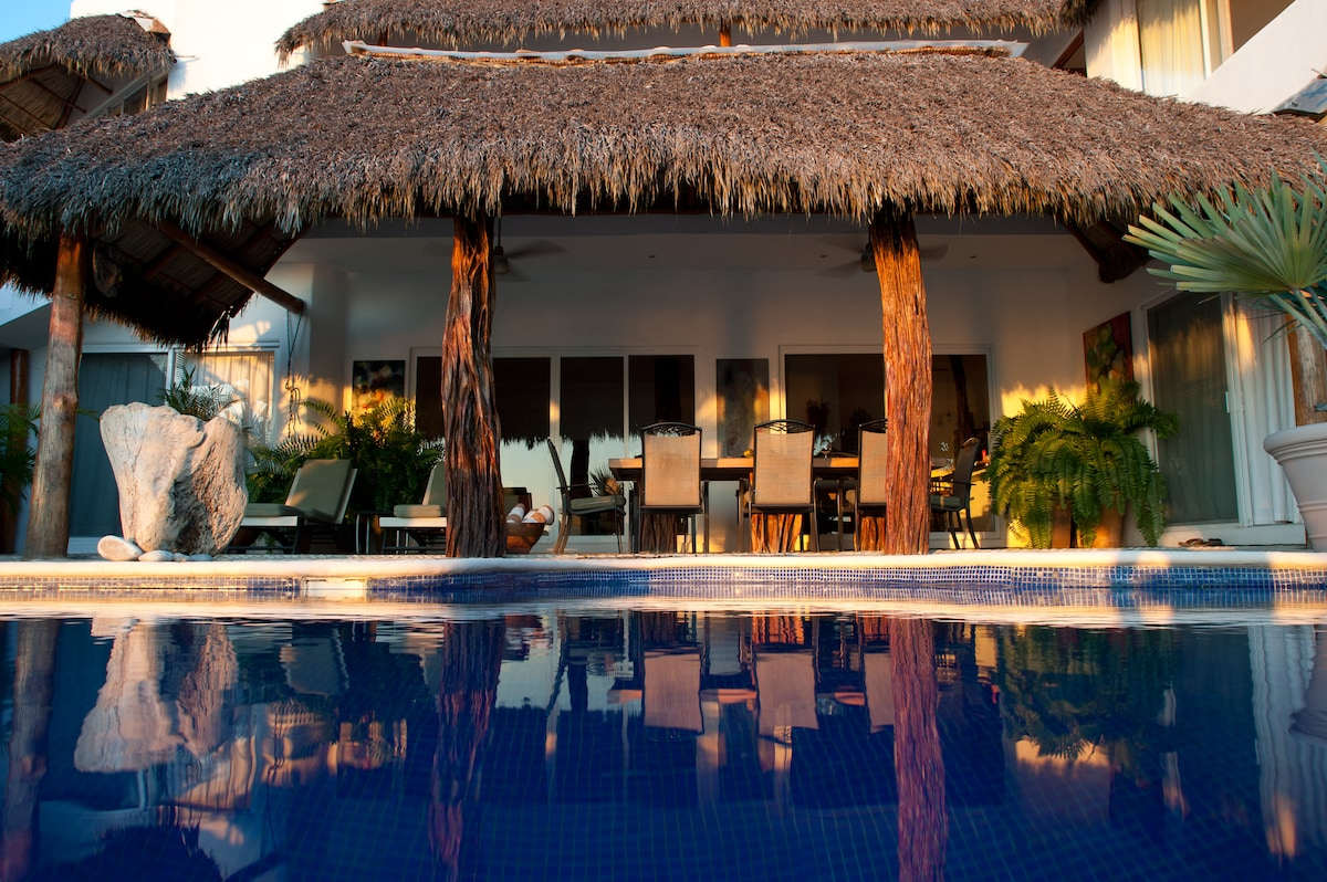 View to terrace and palapa.