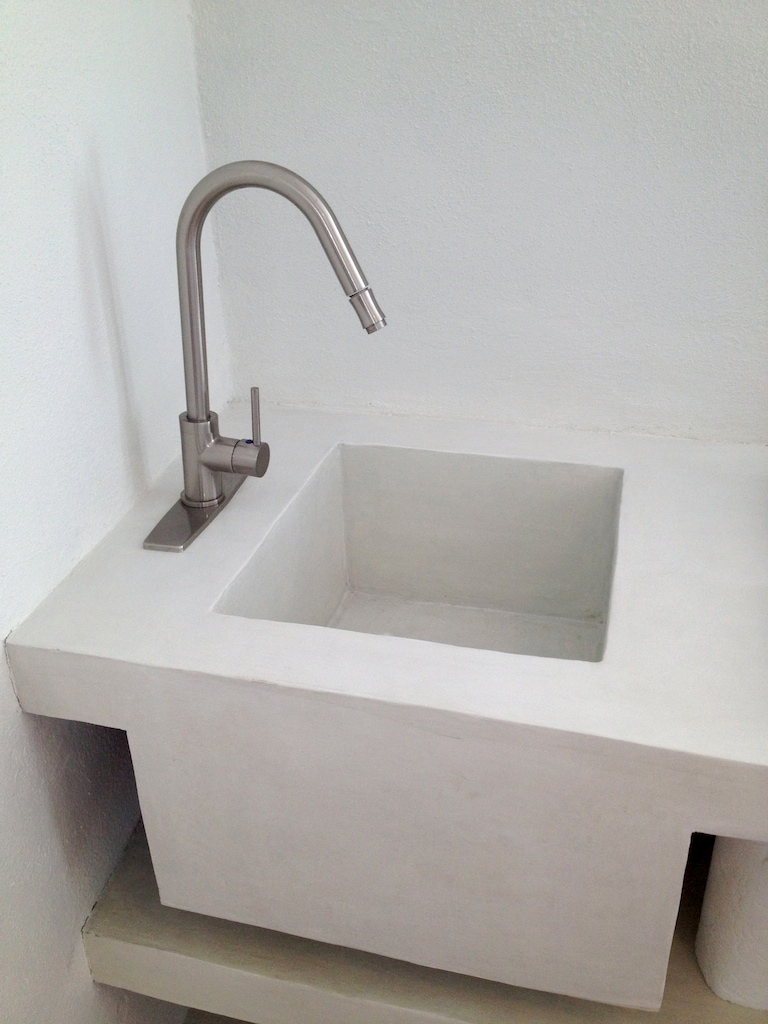 POLISHED CONCRETE SINK + INDUSTRIAL BRUSHED NICKEL PROFESSIONAL PULL-OUT FAUCET