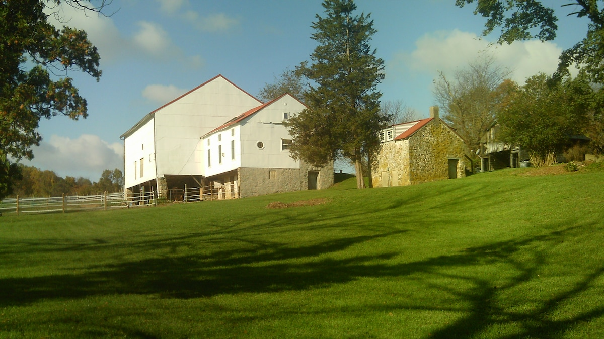 Barn and outbuildings adjacent to the house.