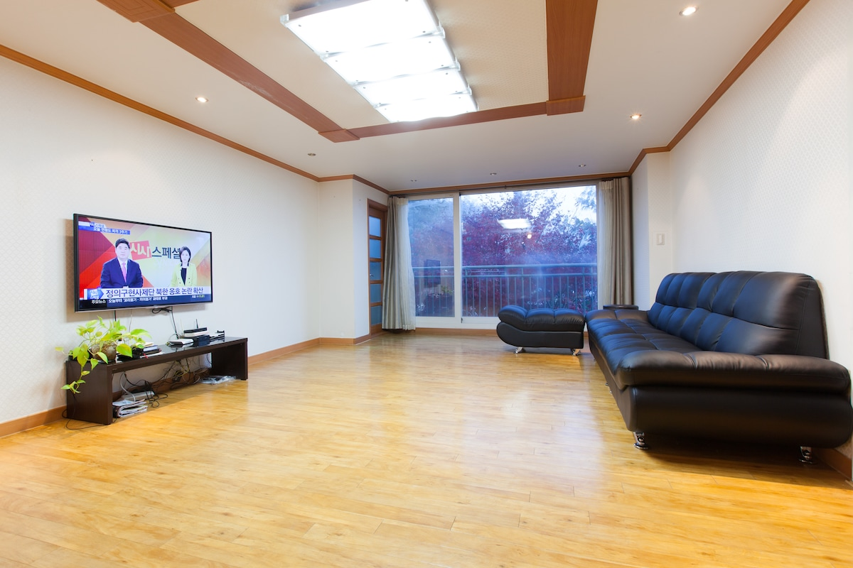 huge livingroom with new 50 inch led tv with 130 channels and new sofa