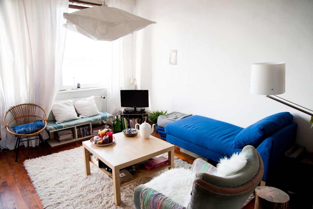 Eclectic living room with sleeping couch + hammock available for dreamy gazes over the river.