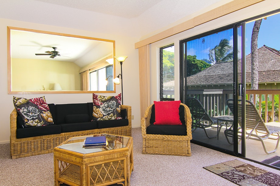 This is the living room, with the oceanfront Lanai overlooking the ocean. the closet is stocked with beach supplies :) Not in the picture: Flat screen TV and DVD player, Ipod-Iphone dock stereo.