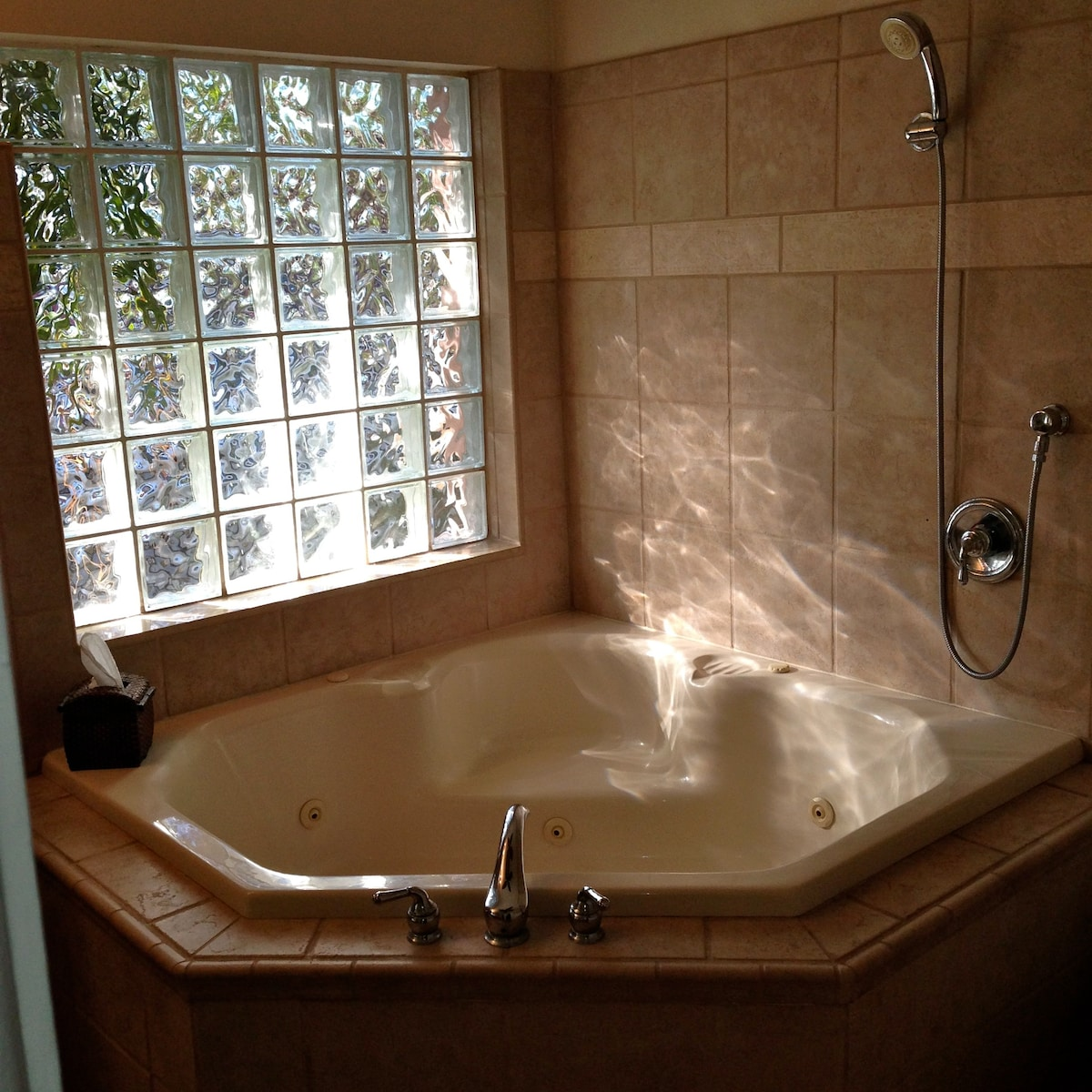 Your private bath has a telephone-style shower or use the full shower on the other side of the house.