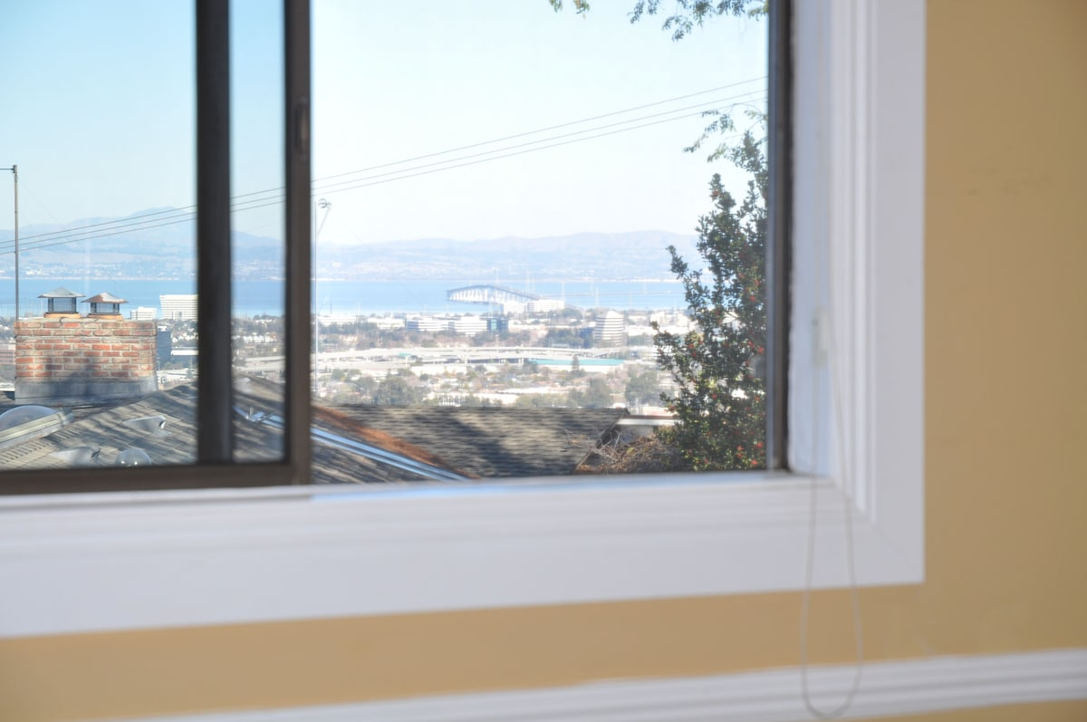 View of the bay, San Mateo bridge, and Mount Diablo from your bedroom window.