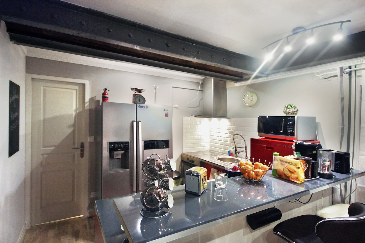 Kitchen with Micro-wave, mini Dish-Washer, Coffee Maker, Fridge, induction Oven, Juice-maker...etc