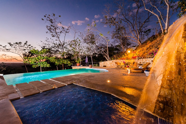 Casa Paloma's Waterfall & Infinity pool with the sunset view