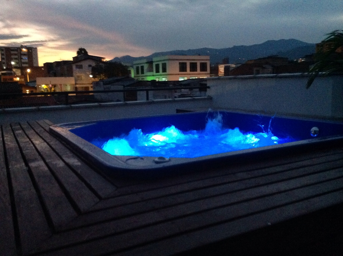 Hot tub on rooftop terrace