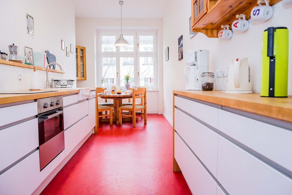 Big kitchen with space for 6 persons