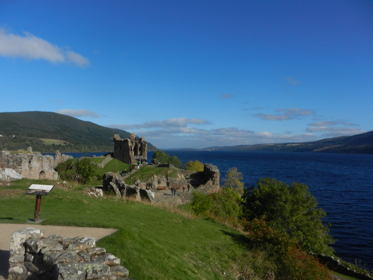 Urquhart Castle and Loch Ness are the reason most people visit Drumnadrochit. You can see Loch Ness from the garden.